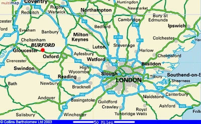 Map London To Oxford.Leisure And Travel In Burford